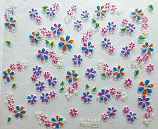 Accessoire ongles:nail art - Stickers autocollants - petites fleurs multicolores