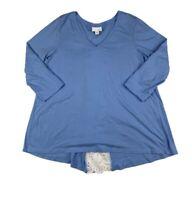 J. Jill Women Medium Tunic Top Blue White V Neck Overlap Lace Pullover