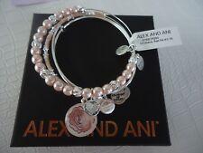 Alex and Ani ROSE SET OF 3 Charm Bangles Shiny Silver New W/ Tag Card & Box