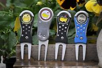The Masters Black Divot Tool and Green Ball Marker - Black Metal Switchblade