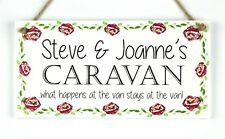 Personalised caravan plaque what happens at the van... plaque sign gift floral