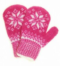 Pink Knit Wool Blend Mittens with White Snowflake Pattern. Girls, Size 5
