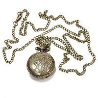 Montre de Poche Ronde Quartz Bronze Collier Numero d'Arabie Creux Fleur R1S6