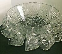Vintage Punch Bowl and 11 Cups Anchor Hocking Arlington,