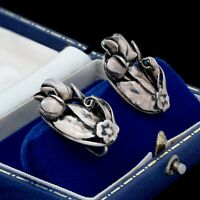 Antique Vintage Art Deco 925 Sterling Silver Floral Flower Leaf Cluster Earrings
