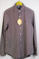 Mens RALPH LAUREN Shirt Long Sleeve CUSTOM Fit BROWN STRIPE Medium EXCELLENT P48