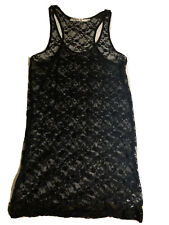 l.a.m.b. Stretchy Lace Nightie Nightgown Black Size Large EUC