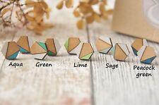 Geometric Green Wooden Lasercut Hexagon Stud Earrings Handpainted Jewellery