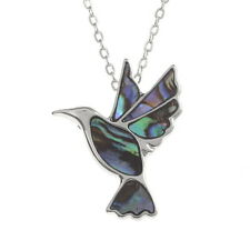 Inlaid Paua Shell Hummingbird Pendant on Silver Chain Necklace - Two Tone