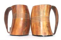 Set of Two Big Viking Drinking Horn beer wine Mugs cups Tankard for wedding gift