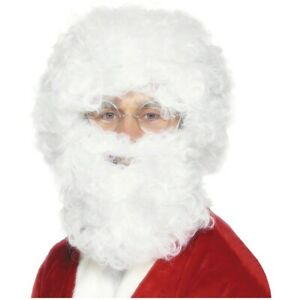 White Santa Claus Beard & Wig Set Curly Afro Style Christmas Costume Accessory