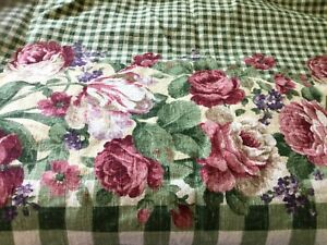 """Kessler Concord fabric green plaid with rose border 43"""" wide by 2 yards 31 """""""