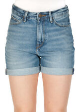 Lee Damen Jeans Short Mom - Relaxed Fit  - Blau - Blue Damage