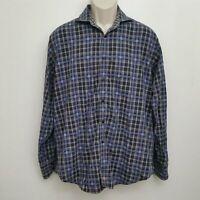 Thomas Dean Mens Shirt Large Blue Black Plaid Button Up Long Sleeve