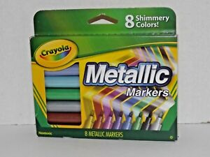 Crayola Metallic Markers 8 Shimmery Rich Radiant Shiny Colors New L6G03 (M)