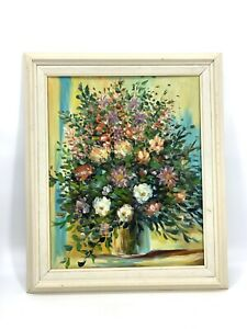 Vtg Mid Century Bright Floral Bouquet in Vase Still Life Large Painting