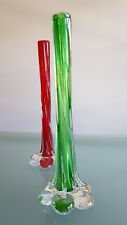 RETRO ART GLASS BUD VASES, LARGE 28.5cm HIGH EACH. 2 BEAUTIES.