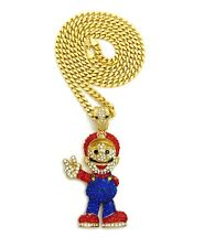 """New Iced Out Mario Pendant & 30"""" Box Cuban Chain Hip Hop Necklace - RC2672G"""