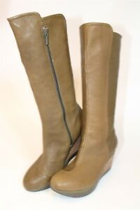 Tsubo 1002531 Kynlee Olivine Womens 9 40 Tall Leather Knee High Wedge Boots