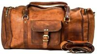 Genuine Leather Squre Duffel Men's Overnight Carry-On Travel Luggage Gym Bag
