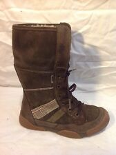 Girls Super Fit Brown Suede Boots Size 33