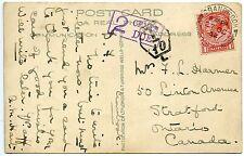 CANADA 1932 Postcard fr: GB 1d pmk CRANBROOK cds h/s violet boxed  `2 CENTS DUE`