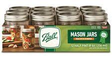 12 Pack 8 Oz Ball Regular Mouth 1/2 Pint Glass Canning Mason Jars Lids & Bands