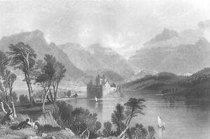 Scotland, KILCHURN CASTLE LAKE LOCH AWE ARGYLL BUTE ~ 1836 Art Print Engraving