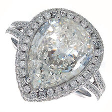 18kt H SI 2.60ct Pear Shape Halo Pavé Diamond Engagement Ring Certified