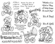 Unmounted Rubber Stamp Sheets, Bear Stamp, Teddy Bears, Baby, Whimsical, Sayings