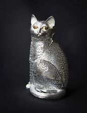 Christofle LUMIERE Collection Tall Sitting Cat with Black/Gold Eyes