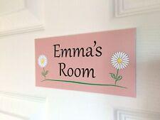 Pink Flowers Personalised Door Name Plaque Bedroom Room Sign Children Daisy's ()