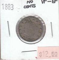 USA 5 Cents Liberty Head Nickel 1883 No Cents VF Very Fine