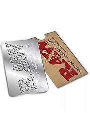HERB GRINDER, RAW THREE WAY SHREDDER CARD 8,5 X 5 CM! Stainless Steel! NEW!