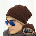 homme femme crochet tricot plissé Baggy Bonnet laine chapeau crâne hiver chaud