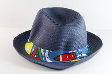 COOL HIPSTER INSPIRED BLUE STRAW / BOLD DESIGN PANAMA HAT UNQIUE (HT2)