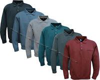 New Top Quality Mens Long Sleeve Plain Polo Sweatshirt Top M -5XL