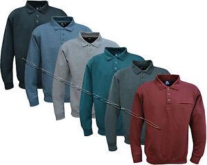 New Top Quality Mens Long Sleeve Plain Polo Sweatshirt Top M - 5XL
