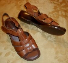 Womens DR SCHOLLS~BROWN LEATHER SANDALS~7 WIDE 7W~NEW Shoes
