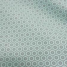Stoff Meterware Baumwolle Waben grau mint retro Muster aus Frankreich Meterpreis