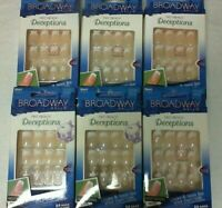 OC) 6 Boxes Broadway False Fake Nails Fast French Deceptions (Dry Glue!)