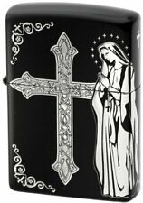 Zippo Oil Lighter Black Silver Maria Cross Brass Etching Double Sided Processing