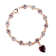GORGEOUS 18K GOLD PLATED & GENUINE PURPLE & CLEAR CUBIC ZIRCONIA HEART BRACELET