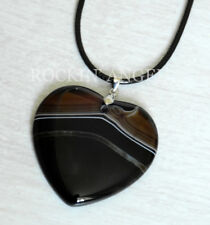 Stunning Black & White  Agate Heart Pendant Necklace Reiki Healing Ladies Gift