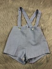 Vintage Baby Boys Blue White Striped Suspender Shorts