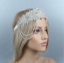 Chain 1920s Wedding Crystal Headband  Bridal Headpiece flapper Gatsby Headband