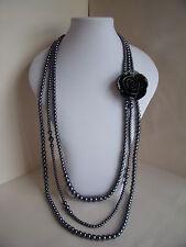 Nuevo Collar largo de década de 1920 Estilo Dark Grey Gun Metal Perlas de Imitación & Black Rose