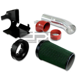 """GMC/CHEVY/CADILLAC 4.8/5.3/6.0 4"""" COLD AIR GREEN FILTER INTAKE+HEAT SHIELD+PIPE"""