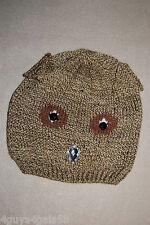 Womens Winter Knit Critter Hat BROWN OWL Rhinestone Jewel Beak Eyes