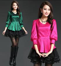 Women Organza Mini Tutu Dress 3/4 Lantern Sleeves Slim Fit Fashion Skirt HOT B15